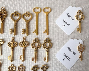 Keys to Happiness - Skeleton Key Wedding Favors 100 Gold Skeleton Keys & 100 White Tags - Wedding Skeleton Keys, Escort Card Vintage Keys