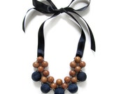 Wooden Statement Necklace / Exotic Wood and Fabric Bead Necklace / Bayong Wood Blue Fabric Beads and Satin Ribbon Ties