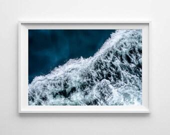 Abstract Wave Art - Puget Sound Seattle Art, Beach Decor - Ocean Art, Beach House Decor, Wave Wall Art - Multiple Sizes Available