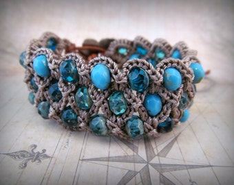 "Boho Chic cuff bracelet ""Beach Blues"", Bohemian Crochet Jewelry"