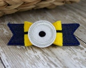 Yellow Helper Bow- Embroidered Felt and Jean