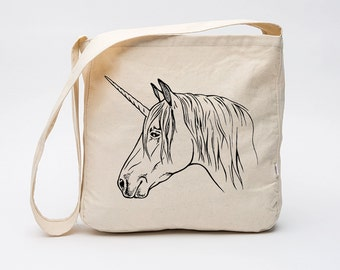 Organic Cotton Unicorn Market Bag, Famers Market Tote Bag