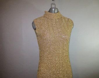 1960's KIMBERLY 100% Gold Metallic Yarn Knit Dress // MOD  Sleeveless, Turtleneck. Wiggle