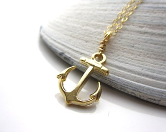 Gold Anchor charm, Gold necklace, Gift for someone special, Friendship necklace,