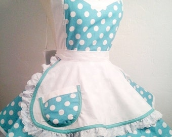 I Luv My Lucy Polka Dot Pin Up Costume Apron, Woman's Apron