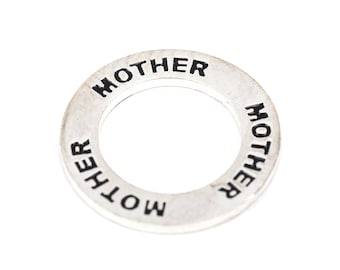 1 Affirmation Ring MOTHER Silver Plated Charm Pendant  chs1974