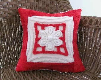red pillow cover, 14 X 14 CHRISTMAS RED, chenille cushion cover, vintage chenille red pillow case, holiday cushion, Christmas pillow cover