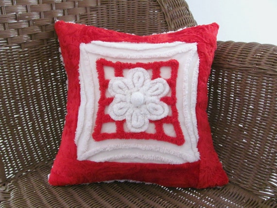 red pillow cover, 14 X 14 MY VALENTINE chenille cushion cover, vintage chenille red pillow case, holiday cushion, Christmas pillow cover