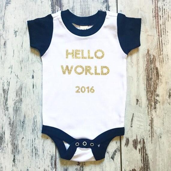 HELLO WORLD ONESIE - baby, newborn child birth announcement photographer colorblock