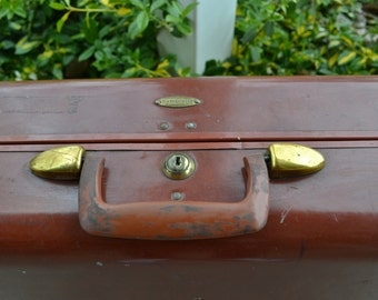 Vintage Shwayder Bros Samsonite Hardshell Brown Leather Suitcase 1940-50's