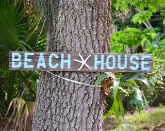 BEACH HOUSE shabby chic rustic coastal decor sign handpainted on driftwood