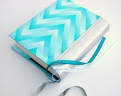 Bible Cover - Book Sleeve - ESV Journaling Bible Single and Double Column - NIV -  Aqua Ombre Chevron