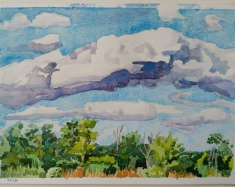 Cloud Over Great Marsh,watercolor, Indiana Dunes, Lake Michigan, fluffy clouds, blue, greens, golds, midwest landscape, wetland
