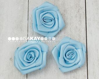 Light Blue Mini Satin Roses 4cm applique flowers floral embellishment decoration wedding flowers satin rosettes flat back wholesale flowers