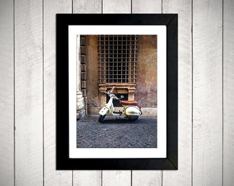 Yellow Vespa photography print - Rome Italy - 5x7 DIGITAL DOWNLOAD