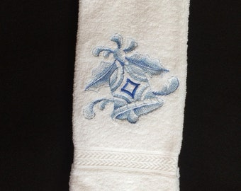 Christmas Bell Ornament Embroidered Bath Hand Towel. Beatiful bell in blues.