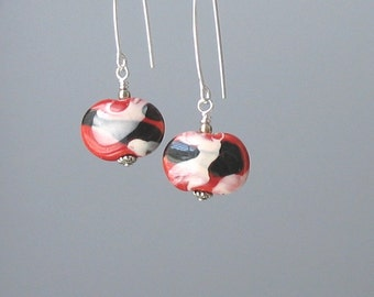 Red and Black Earrings, Kazuri Earrings, Ceramic Bead Earrings, Sleek, Modern Earrings, Gift for Her