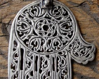 Moroccan silver hand made filigree  Hand  pendant