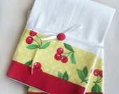 Kitchen towels - Cherries, set of two flour sack towels for your yellow kitchen