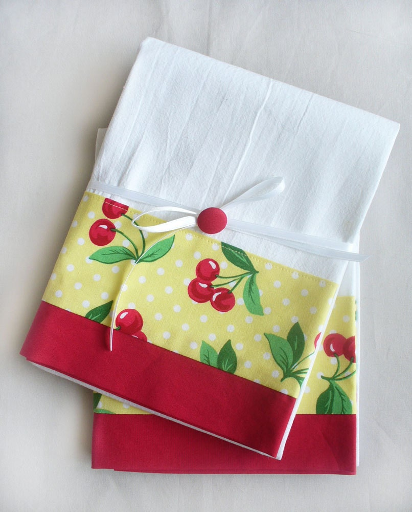 Kitchen towels Cherries set of two flour sack towels for