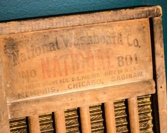 National Washboard Company vintage washboard, Rustic home decor, No. 801