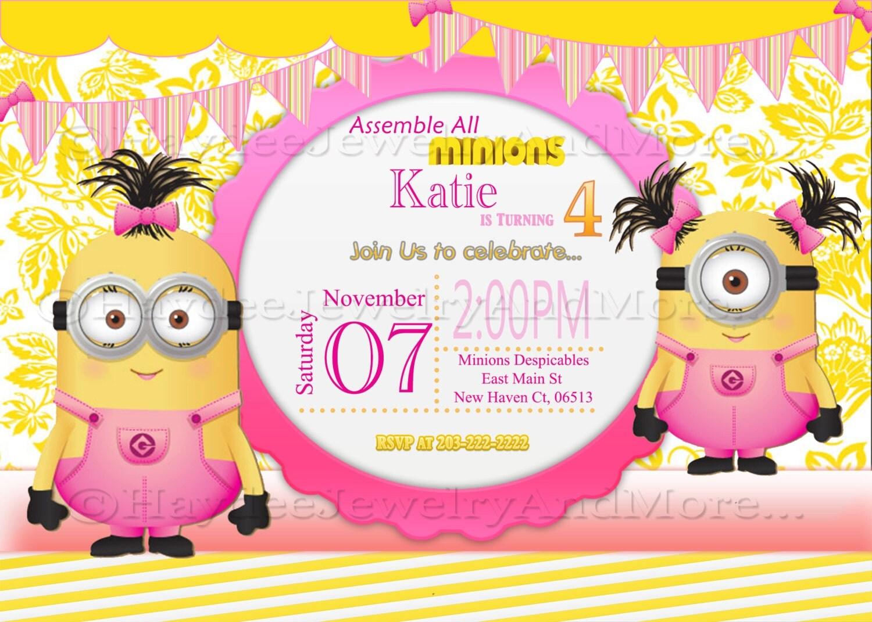 Minions Girls Birthday Card Invitation Minions Theme Birthday – Birthday Cards for Girl