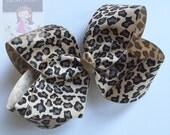 "Leopard Bow -- beautiful boutique bow made with leopard print ribbon in tans and browns, choose 3"" 4"" 5"" or 6-7"" bow"