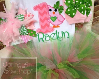 FREE SHIPPING - Owl Birthday Set -- Tutu Outfit for First Birthday -- Bodysuit, Leg Warmers, Tutu, Over The Top Bow in pinks and greens
