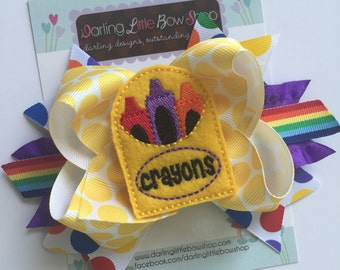 Crayon Bow - The Future Is Bright - Back to School Bow - 5 to 6 inch bow in rainbow colors with crayon box centers