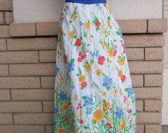 60s 70s Maxi Skirt Wrap Around with Ric Rac Floral Print L-XL