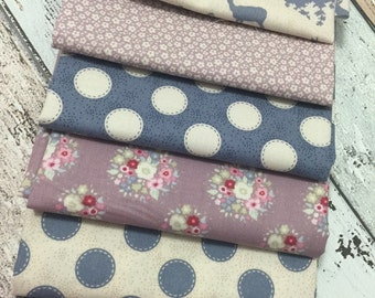 "Tilda NEW ""Autumntree"" range 6x fat quarter Blue bundle 100%cotton fabric"