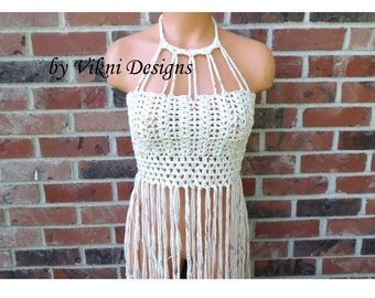 Vikni Crochet Halter Top, Vintage Fringe Crochet Crop Top, Nude Tan Blend High Neck Crochet Tops