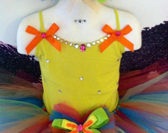 Girls neon diva tutu set