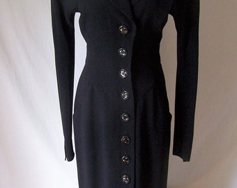 Karl Lagerfeld vintage 80's avant garde black long dress jacket coat 38 S