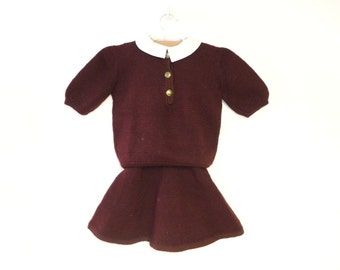 Vintage Baby Clothes, 1930's Hand Knit Maroon Wool Baby Girl Jumper and Sweater Set, Vintage Hand Knit Baby Jumper, Size 2T - 3T