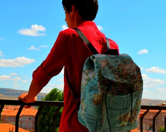 Back To School Valentines day gift -World Maps Printed Backpack, Student Backpack,Map Backpack/Travel,School,Daily Backpack/Unisex Rucksack