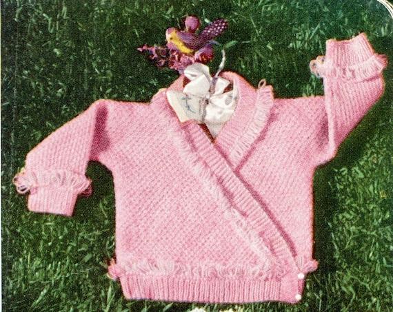 Kimono Style Surplice Knitted Baby Sweater Pattern