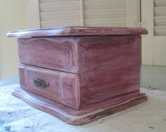 Shabby Rustic Jewelry Box Vintage Mele Trinket Chest  Up-Cycled and  Distressed in Antiqued Pink Raspberry