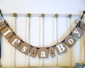 Ahoy Its A Boy Banner- Nautical Baby Shower Decorations - Anchor Baby Announcements - Its A Boy Banner-Baby Shower Banners-Your color choice