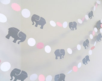 Pink & Gray Elephant baby shower Decorations - Gray Elephant Nursery Decoration - Pink and Gray Baby Shower Garland / Custom colors