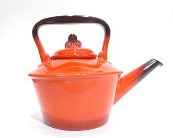 Vintage Metlox Red Rooster Poppytrail, Poppy Trail, Tea Pot  Kitchen Decor, Made in U.S.A. Kitschy Retro