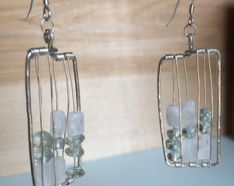 Hammered Sterling Silver Rectangle Moonstone and Aquamarine Earrings