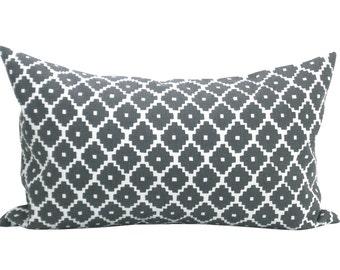 Ziggurat lumbar pillow cover in Charcoal