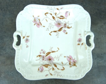 Antique Shabby Chic Handled Plate, Leonard Vienna, Aesthetic Pink Flowers, Tea Party, Bridal Shower, White China