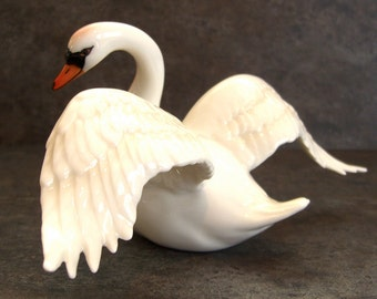 Porcelain Swan Figurine, Samson Paris, Blue Wave Mark Outstretched Wings, White Bird, Mint Condition Collectible