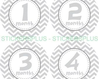 FREE NB Gift Monthly Baby Boy Girl Neutral Milestone Stickers  Grey Gray White Chevron PRECUT Stickers Baby Month Sticker Photo Prop