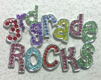 1 PC - 3rd Grade Rocks Flatback Rhinestone Embellishment - Back To School - Center for Hair Bows - DIY crafts