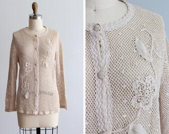 1970s Penelope Crochet Sweater / Vintage Cream Cardigan
