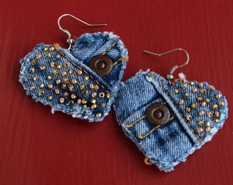 Earring - Heart-Shaped, Recycled Lucky Brand Denim - Hand-Beaded - Upcycled