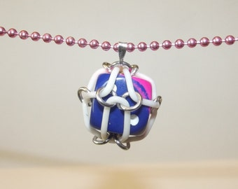 Pink and Blue Caged Chainmaille Dice Necklace